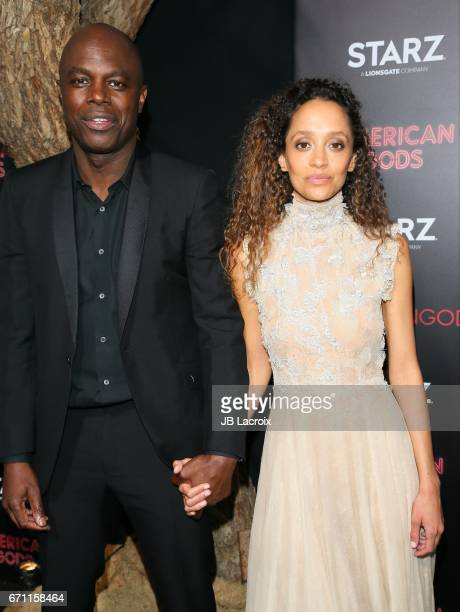 Chris Obi and Gloria Huwiler attend the premiere Of Starz's 'American Gods' on April 20, 2017 in Hollywood, California.