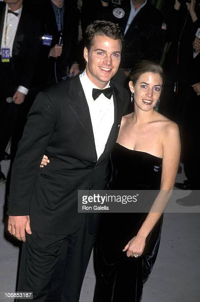 Chris O'Donnell and Caroline Fentress during 1997 Vanity Fair Oscar Party Arrivals at Morton's Restaurant in Beverly Hills California United States
