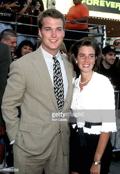 Chris O'Donnell and Caroline Fentress during Batman Forever Los Angeles Premiere at Mann's Village Theater in Westwood California United States