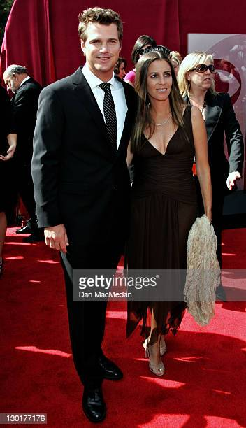 Chris O'Donnell and Caroline Fentress during The 57th Annual Emmy Awards - Arrivals at Shrine Auditorium in Los Angeles, California, United States.