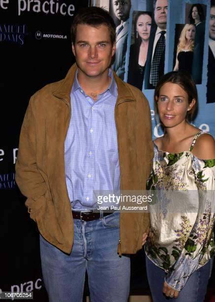 Chris O'Donnell and wife Caroline during David Kelley and The Cast of ABC's Hit Drama 'The Practice' Celebrate The Launch of Their Eight Season at...