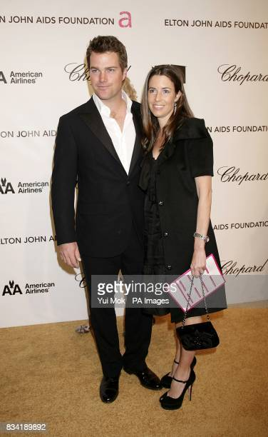Chris O'Donnell and wife Caroline Fentress arrive for the 16th Annual Sir Elton John AIDS Foundation Oscar Party at the Pacific Design Centre in Los...