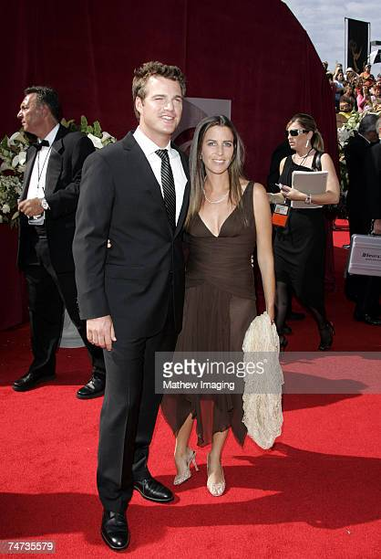 Chris ODonnell and wife Caroline Fentress at the 57th Annual Primetime Emmy Awards Arrivals at The Shrine in Los Angeles California