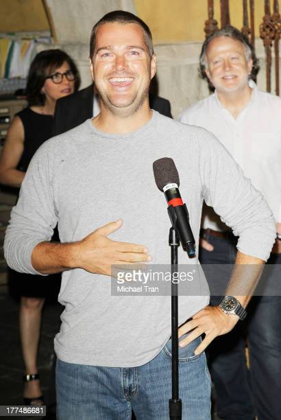 Chris O'Donnell attends the 'NCIS Los Angeles' 100th episode cake cutting ceremony held at Paramount Studios on August 23 2013 in Hollywood California