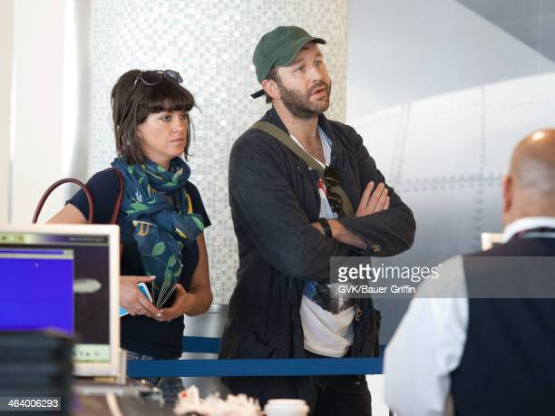 Chris O'Dowd and his wife Dawn Porter are seen on January 18 2014 in Los Angeles California