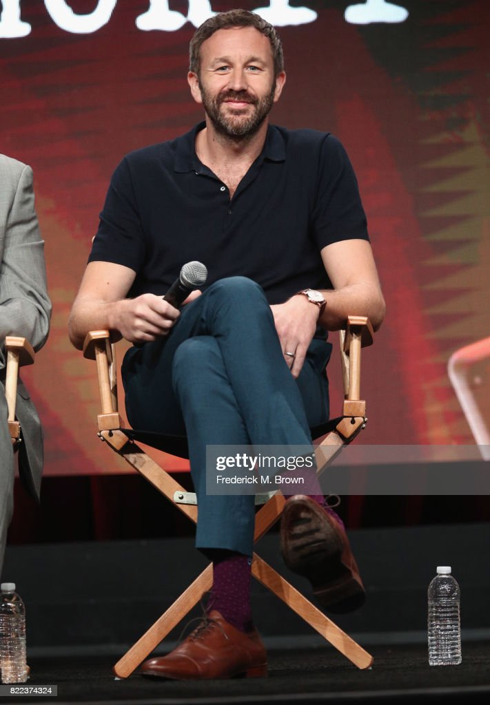 Chris O'Dowd of the series 'Get Shorty' speak onstage during the EPIX portion of the 2017 Summer Television Critics Association Press Tour at The Beverly Hilton Hotel on July 25, 2017 in Beverly Hills, California.