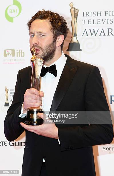 Chris O'Dowd wins the Supporting Actor in Film award for 'Bridesmaids' at the 'Irish Film and Television Awards' at Convention Centre Dublin on...