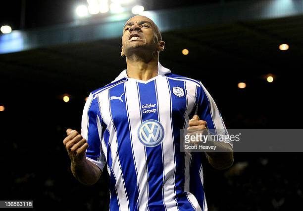 Chris O'Grady of Sheffield Wednesday celebrates after scoring the opening goal during the FA Cup Third Round match between Sheffield Wednesday and...
