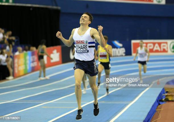 Chris O'Hare celebrates after winning the mens 3000m final during Day Two of the SPAR British Athletics Indoor Championships at Arena Birmingham on...
