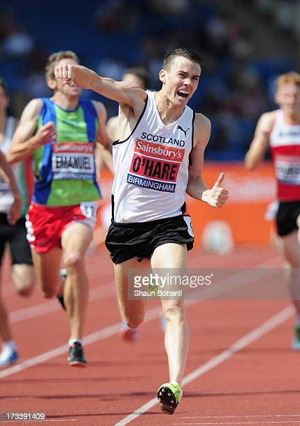 Chris O'Hare of Edinburgh wins the Men's 1500 Metres during the Sainsbury's British Athletics World Trials and UK England Championships at Birmingham...