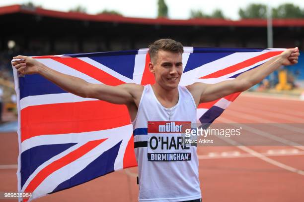 Chris O'Hare of Great Britain celebrates winning the Men's 1500m Final during Day Two of the Muller British Athletics Championships at the Alexander...