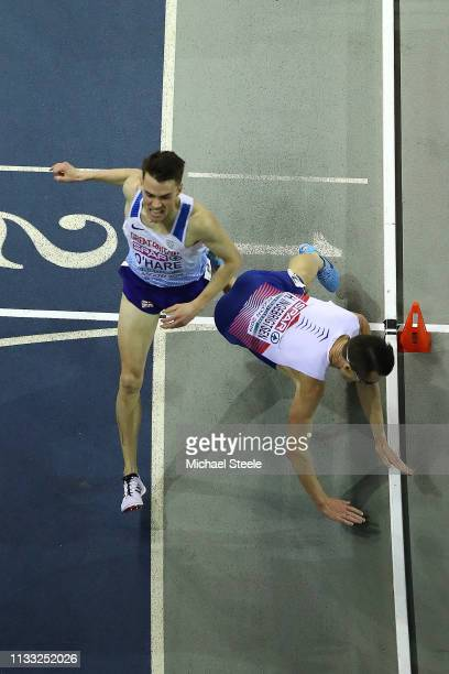 Chris O'Hare of Great Britain claims silver as Henirk Borkja Ingebrigtsen of Norway tumbles at the finish line in the mens 3000m final during the...