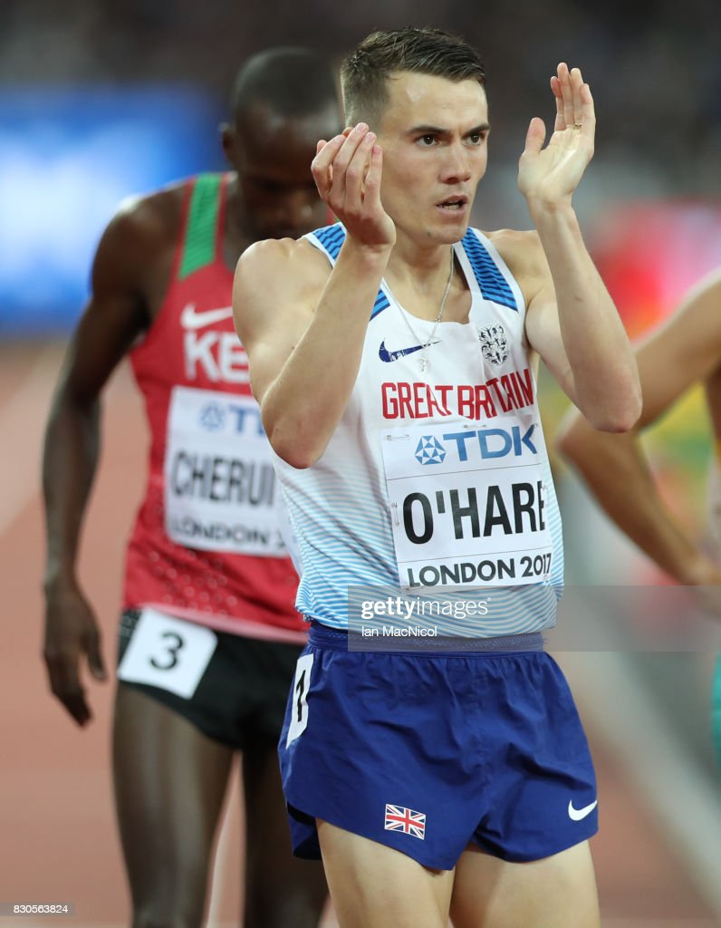 Chris O'Hare of Great Britain competes in the Men's 1500m semi final during day eight of the 16th IAAF World Athletics Championships London 2017 at The London Stadium on August 11, 2017 in London, United Kingdom.