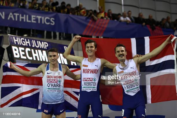 Chris O'Hare of Great Britain Jakob Ingebrigtsen and Henrik Borkja Ingebrigtsen of Norway pose after the mens 3000m Final during the 2019 European...
