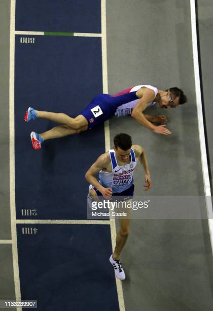 Chris O'Hare of Great Britain overtakes Henirk Borkja Ingebrigtsen into second place in the mens 3000m final during the 2019 European Athletics...