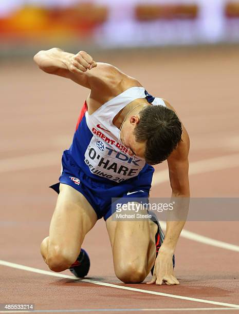 Chris O'Hare of Great Britain reacts after competing in the Men's 1500 metres semifinal during day seven of the 15th IAAF World Athletics...