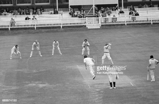 Chris Old of England bowls Indian batsman Bishan Bedi for 0 and England win the 2nd Test match between England and India by an innings and 285 runs...