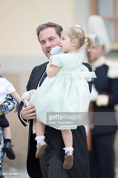 Chris O'Neill and Princess Leonore attend the christening of Prince Alexander of Sweden at Drottningholm Palace Chapel on September 9 2016 in...