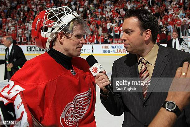 Chris Osgood of the Detroit Red Wings is interviewed by Elliotte Friedman of CBC Sports television from Canada about defeating the Anaheim Ducks 43...
