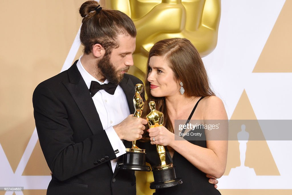 Chris Overton and Rachel Shenton attend the 90th Annual Academy Awards - Press Room on March 4, 2018 in Hollywood, California.