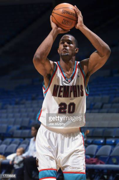 Chris Owens of the Memphis Grizzlies warms up before the game against the New Orleans Hornets at The Pyramid on January 6 2003 in Memphis Tennessee...