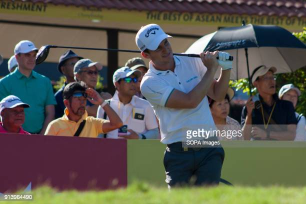Chris Paisley is seen taking a shot from hole no 1 on day 3 at the Maybank Championship 2018 The Maybank Championship 2018 golf event is being hosted...