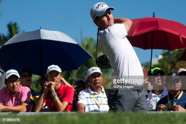 Chris Paisley is seen taking a shot from hole no 3 on day 3 at the Maybank Championship 2018 The Maybank Championship 2018 golf event is being hosted...