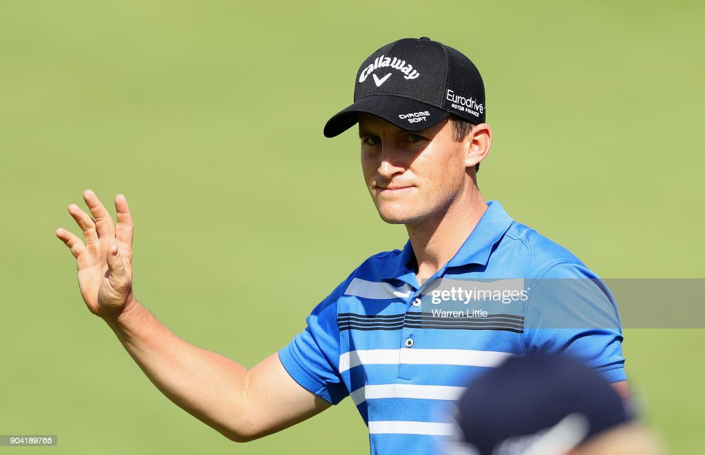 Chris Paisley of England acknowledges the crowd on the 18th green during day two of the BMW South African Open Championship at Glendower Golf Club on January 12, 2018 in Johannesburg, South Africa.