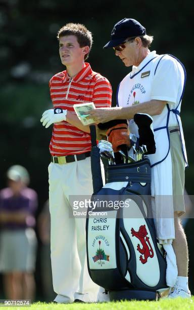 Chris Paisley of England and the Great Britain and Ireland Team at the 7th hole during the final afternoon singles matches on the East Course at...