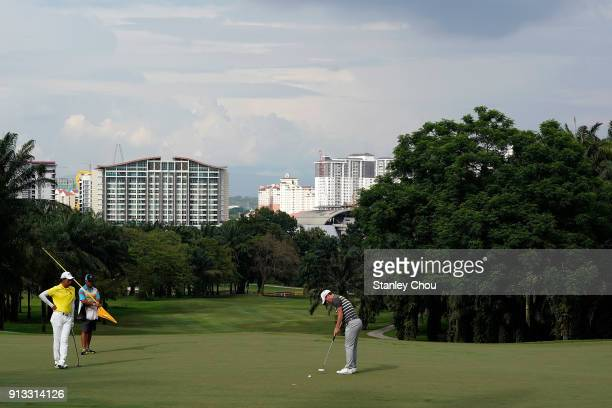 Chris Paisley of England plays a putt during day two of the 2018 Maybank Championship Malaysia at Saujana Golf and Country Club on February 2 2018 in...
