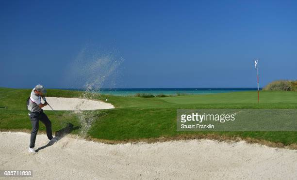 Chris Paisley of England plays from a bunker on the 3rd hole during day three of The Rocco Forte Open at Verdura Golf and Spa Resort on May 20 2017...