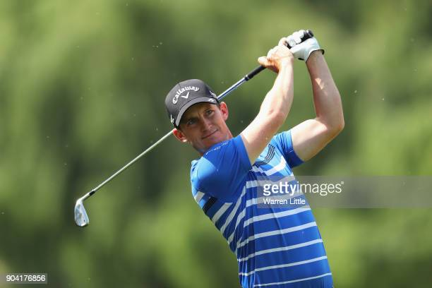 Chris Paisley of England plays his second shot on the 15th hole during day two of the BMW South African Open Championship at Glendower Golf Club on...