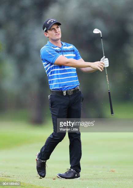 Chris Paisley of England plays his second shot on the 18th hole during day two of the BMW South African Open Championship at Glendower Golf Club on...