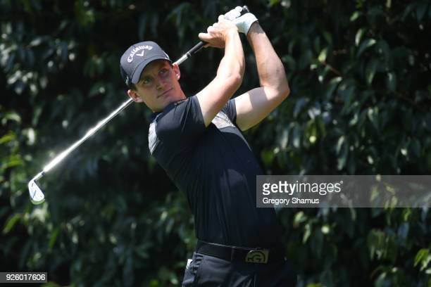 Chris Paisley of England plays his shot from the first tee during the first round of World Golf ChampionshipsMexico Championship at Club de Golf...