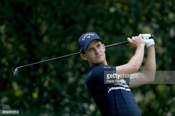 Chris Paisley of England plays his tee shot on the par 4 12th hole during the second round of the World Golf ChampionshipsMexico Championship at the...
