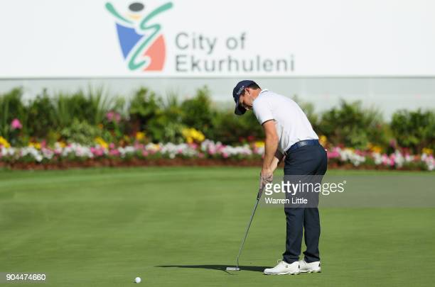 Chris Paisley of England putts on the 18th green during the third round of the BMW South African Open Championship at Glendower Golf Club on January...