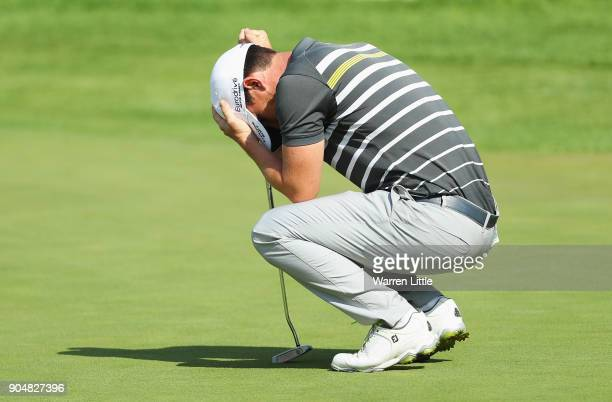 Chris Paisley of England reacts on the 18th green on the way to victory during day four of the BMW South African Open Championship at Glendower Golf...