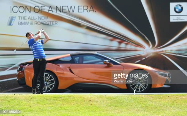 Chris Paisley of England tees off on the 17th hole during day two of the BMW South African Open Championship at Glendower Golf Club on January 12...