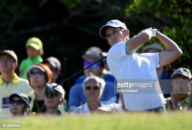 Chris Paisley of England tees off on the 1st hole during the third round of the Maybank Championship Malaysia at Saujana Golf and Country Club on...