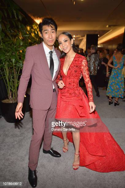Chris Pang and Fiona Xie attend the 2019 InStyle and Warner Bros 76th Annual Golden Globe Awards PostParty at The Beverly Hilton Hotel on January 6...