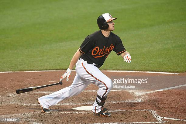 Chris Parmelee of the Baltimore Orioles bats against the Cleveland Indians at Oriole Park at Camden Yards on June 26, 2015 in Baltimore, Maryland....