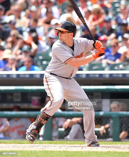 Chris Parmelee of the Baltimore Orioles bats during the game against the Detroit Tigers at Comerica Park on July 19, 2015 in Detroit, Michigan. The...
