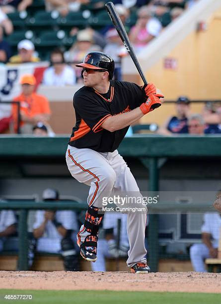 Chris Parmelee of the Baltimore Orioles bats during the Spring Training game against the Detroit Tigers at Joker Marchant Stadium on March 3, 2015 in...