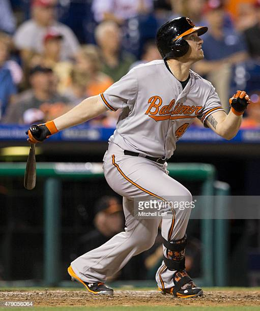 Chris Parmelee of the Baltimore Orioles bats in the game against the Philadelphia Phillies on June 17, 2015 at the Citizens Bank Park in...