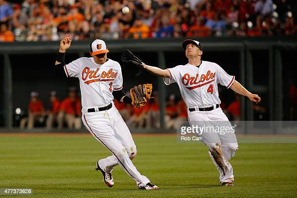 Chris Parmelee of the Baltimore Orioles catches a ball hit by Carlos Ruiz of the Philadelphia Phillies in front of teammate Ryan Flaherty for the...