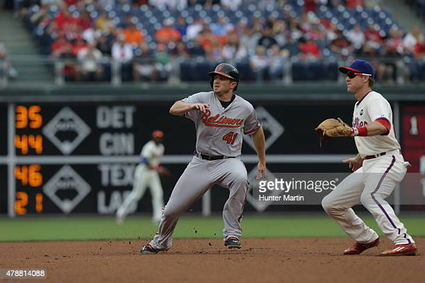 Chris Parmelee of the Baltimore Orioles during a game against the Philadelphia Phillies at Citizens Bank Park on June 18, 2015 in Philadelphia,...