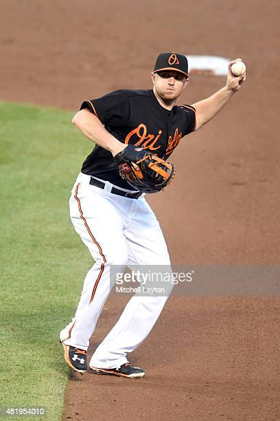 Chris Parmelee of the Baltimore Orioles fields a ground ball during a baseball game against the Cleveland Indians at Oriole Park at Camden Yards on...
