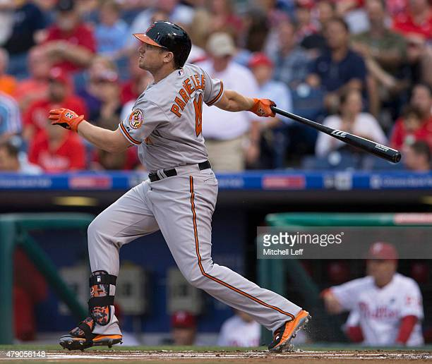 Chris Parmelee of the Baltimore Orioles hits a solo home run in the top of the first inning against the Philadelphia Phillies on June 17, 2015 at the...