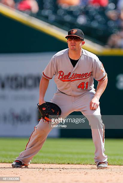 Chris Parmelee of the Baltimore Orioles looks into home plate during the sixth inning of the game against the Detroit Tigers on July 19, 2015 at...