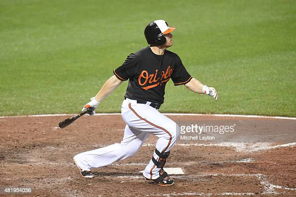 Chris Parmelee of the Baltimore Orioles pbats against the Cleveland Indians at Oriole Park at Camden Yards on June 26, 2015 in Baltimore, Maryland....
